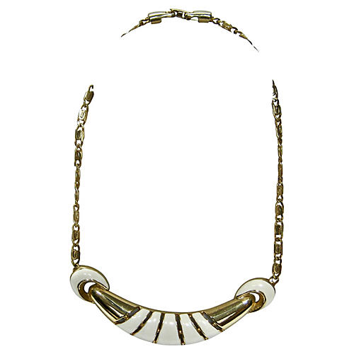 1970s Modernist Gold & White Necklace