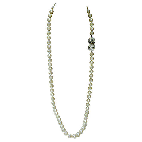 Givenchy Deco-Style Glass Pearl Necklace