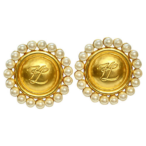 Karl Lagerfeld Signature Pearl Earrings