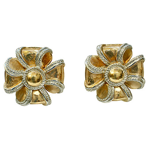 Givenchy Gold & Silver Bow Earrings