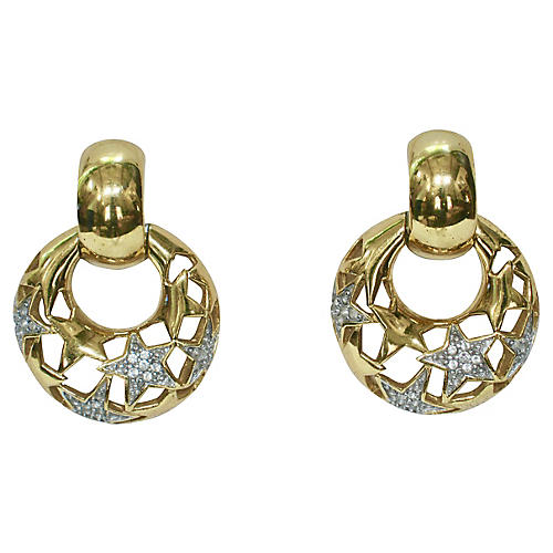 Givenchy Gold Star Crystal Earrings