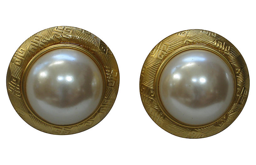 1980s Givenchy Mabe' Pearl Earrngs