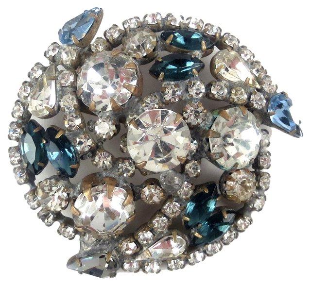 Sapphire & Clear Rhinestone Brooch