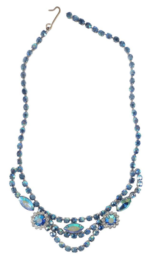 Blue Aurora Borealis Rhinestone Necklace