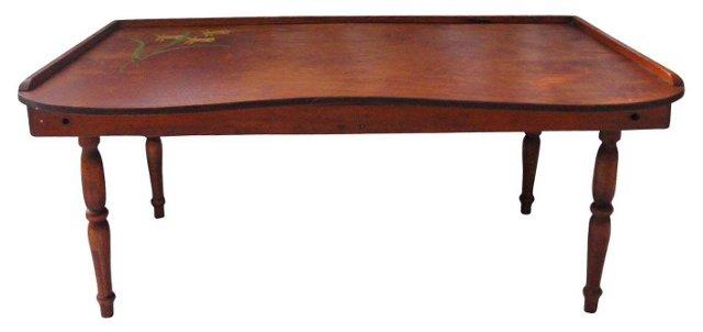Midcentury Tilt-Top Wood Bed Tray