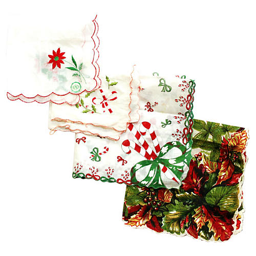 Red & Green Holiday Handkerchiefs, S/4