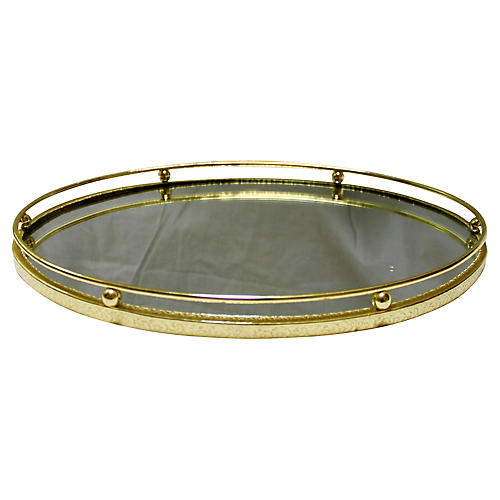 Midcentury Brass & Mirror Tray