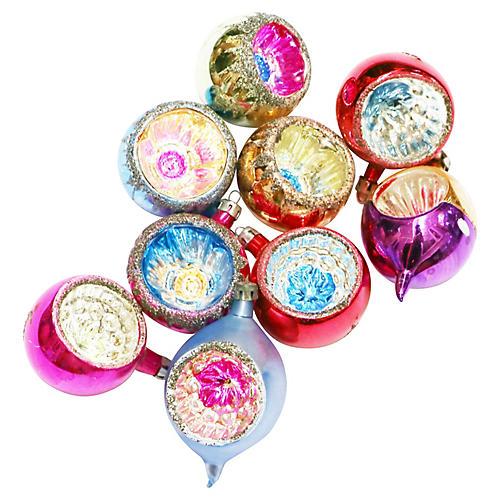Mica Glitter Ornaments, S/11