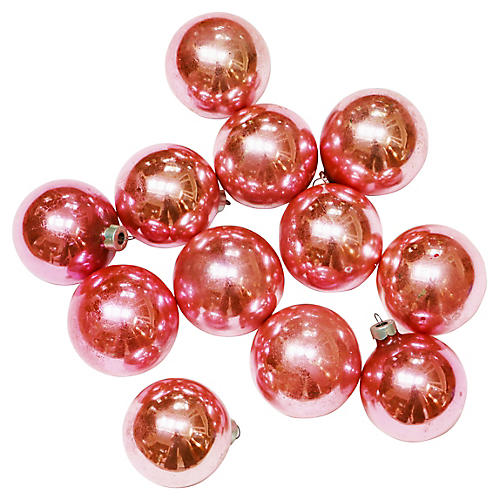 Pink Glass Ornaments, S/12