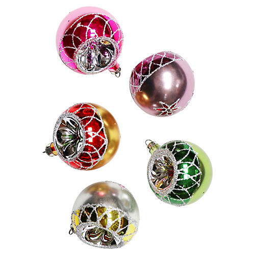 Round Glass Ornaments, S/5