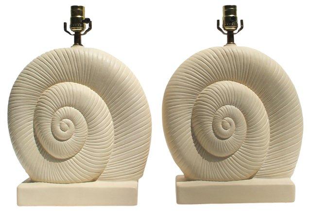 Nautilus Shell Lamps, Pair