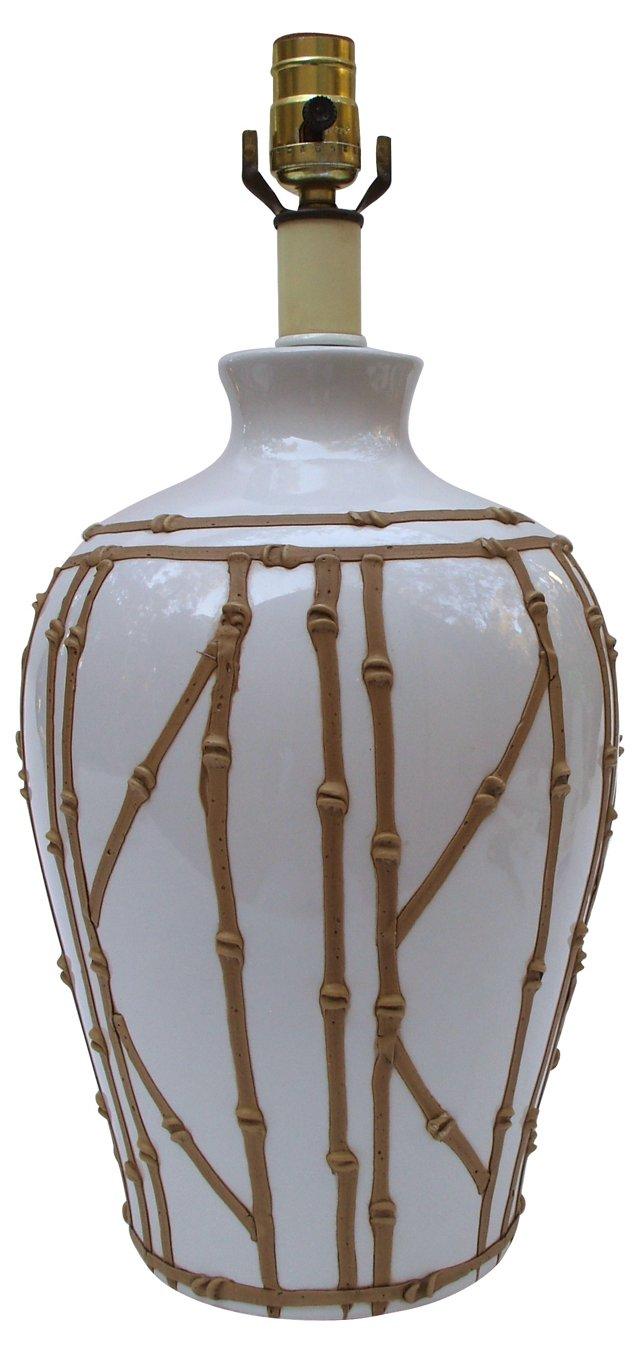 Brown Bamboo-Motif Lamp