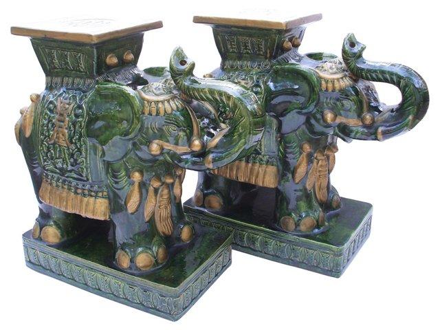 Green & Gold Elephant Stools, Pair