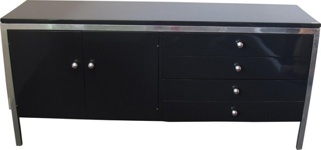 Charcoal Gray Lacquered Credenza
