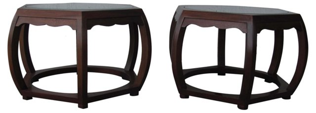 Glass-Top  Side Tables, Pair
