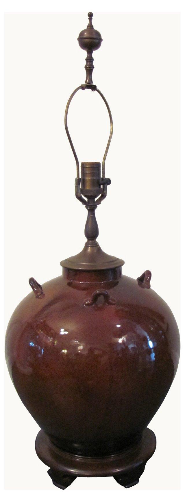 Asian-Style Brown Ceramic Lamp