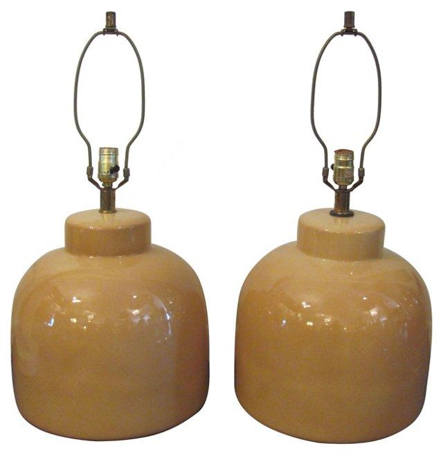 Sand Ceramic Lamps, Pair