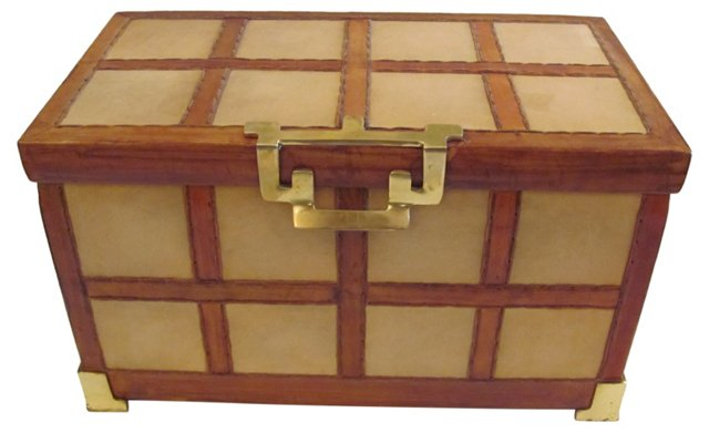 Hand-Stitched Leather Trunk