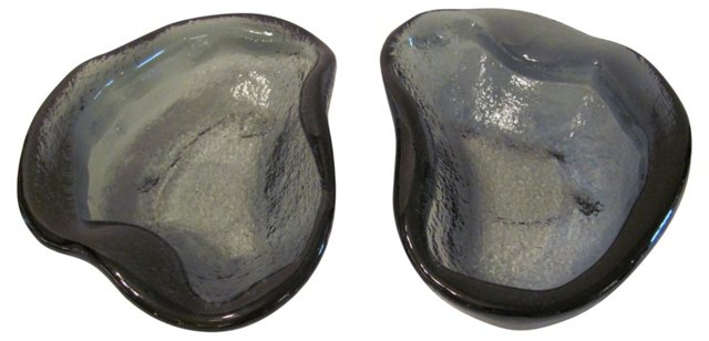 Gray Blenko Ashtrays, Pair