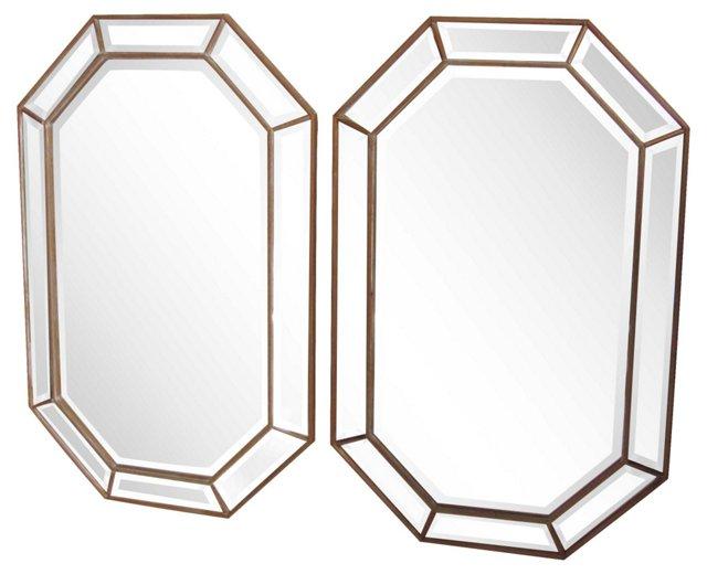 Italian Octagonal Mirrors, Pair