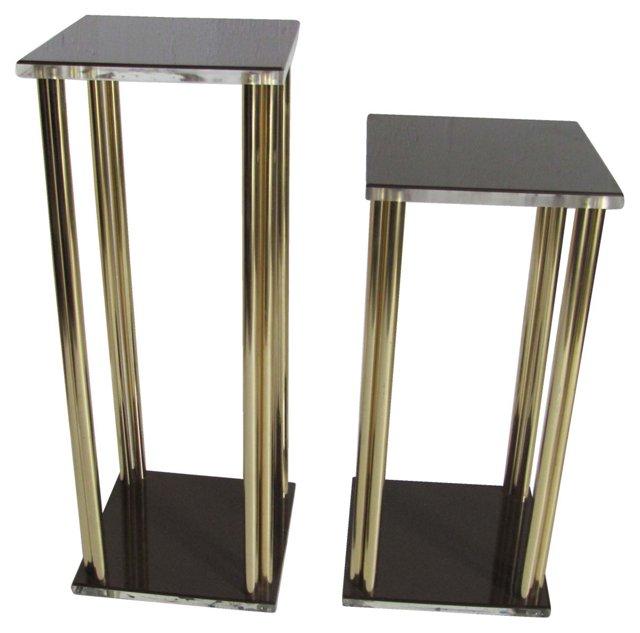 Lucite & Metal Pedestals, Pair