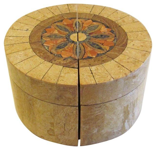 Semicircular Tessellated Stone Box, Pair