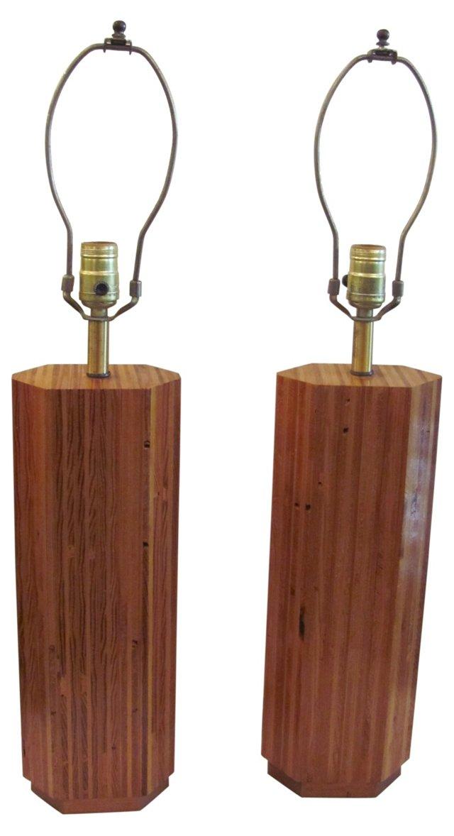 Wood Lamps, Pair