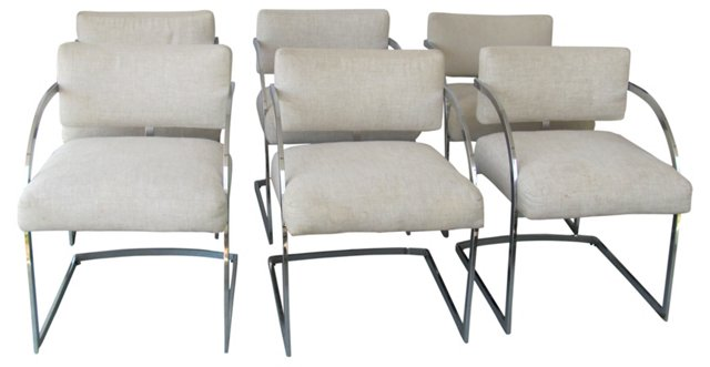 Milo Baughman-Style Dining Chairs, S/6