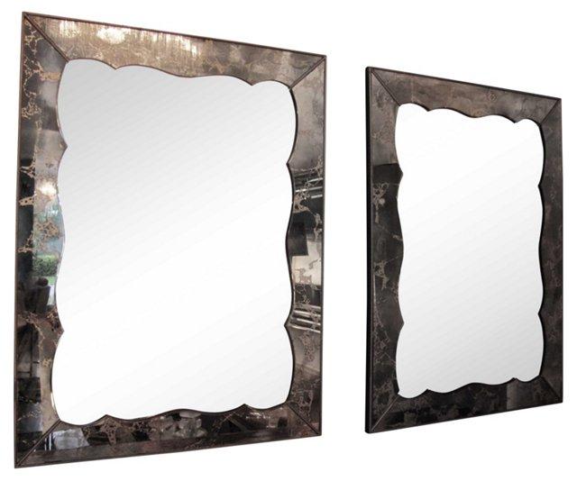 Giltwood Eglomisé Mirrors, Pair