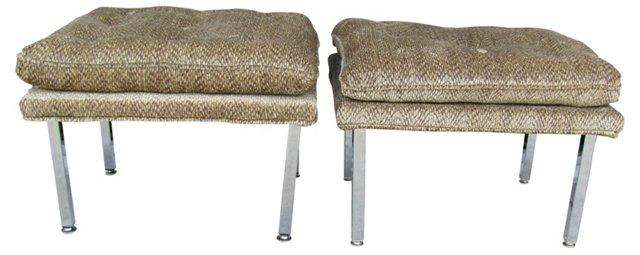 Midcentury Stools  w/ Chrome Legs, Pair
