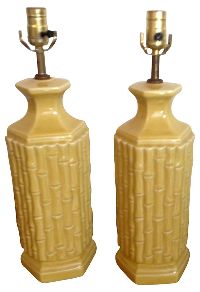 Midcentury Bamboo-Style Lamps, Pair