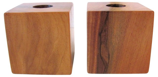 Midcentury Cube Candleholders, Pair