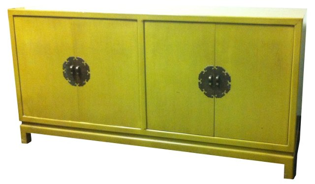 Asian-Inspired Chartreuse Credenza
