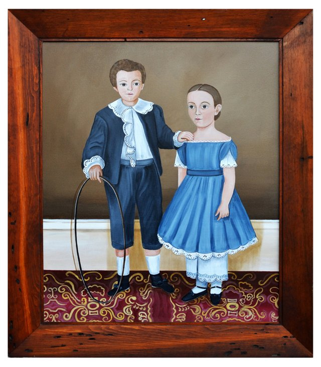 Portrait of Two Children in Naive Style