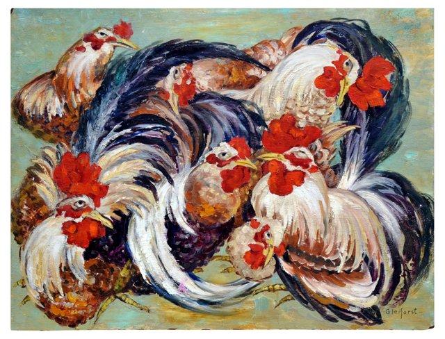 Rooster Meeting by Helen Gleiforst