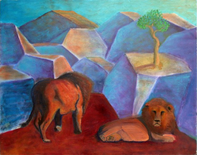 Cubist Lions