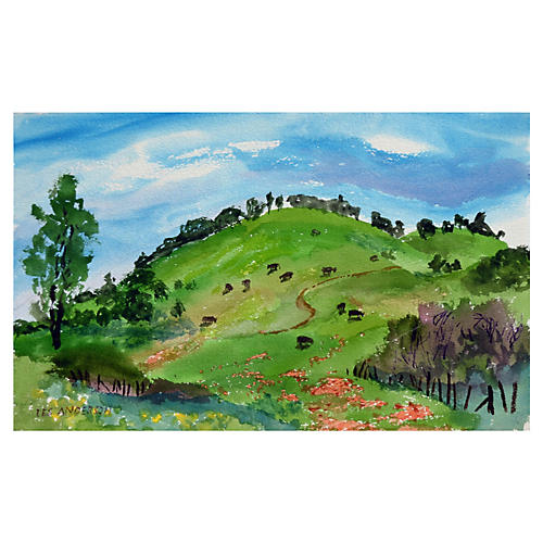 Countryside Watercolor by Les Anderson