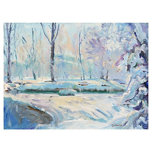 Snowy Stream by Verneda Mehringer