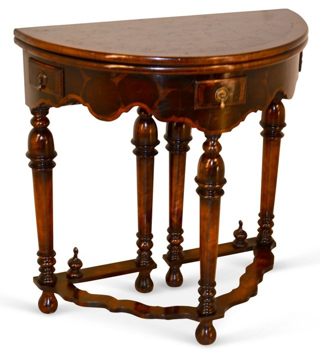 18th-C. Oyster Walnut Game Table