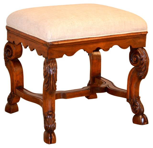 Queen Anne-Style  Stool, C. 1820