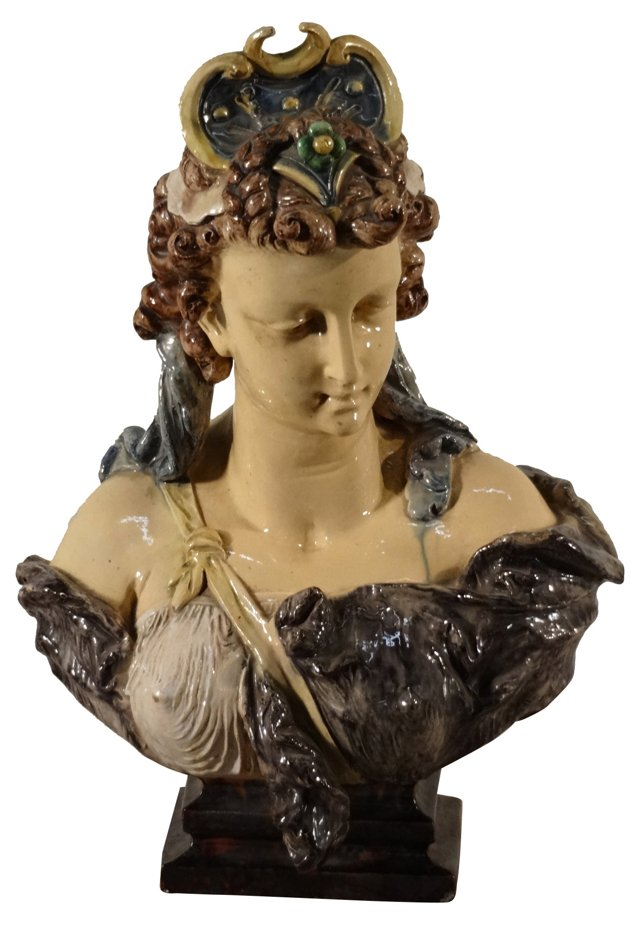 19th-C. French Majolica Bust