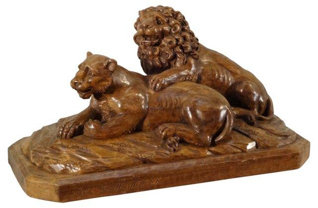 Black Forest Lion Wood Carving