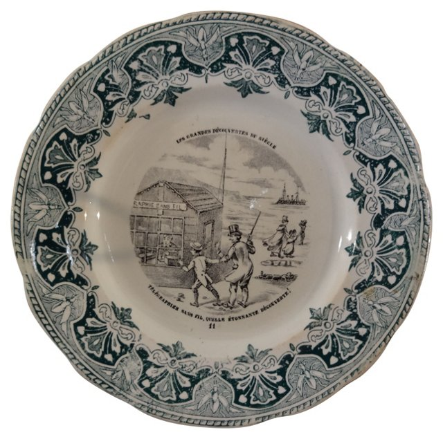 19th-C. French Dessert Plate