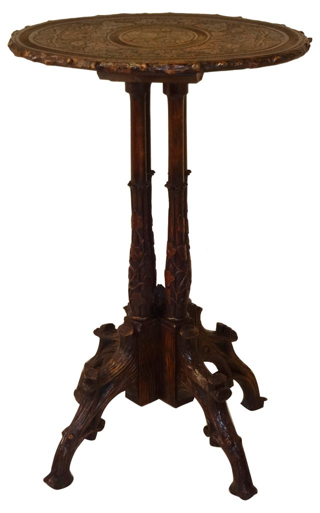 19th-C. Black Forest Carved Table