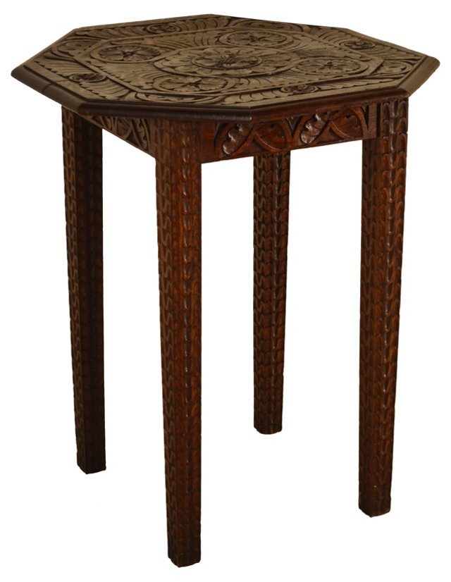 19th-C. Carved Octagonal Side Table
