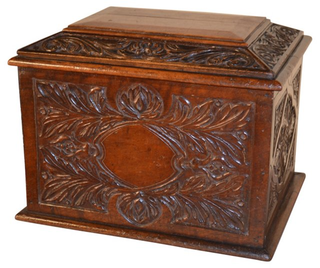 19th-C. Carved Decanter Box