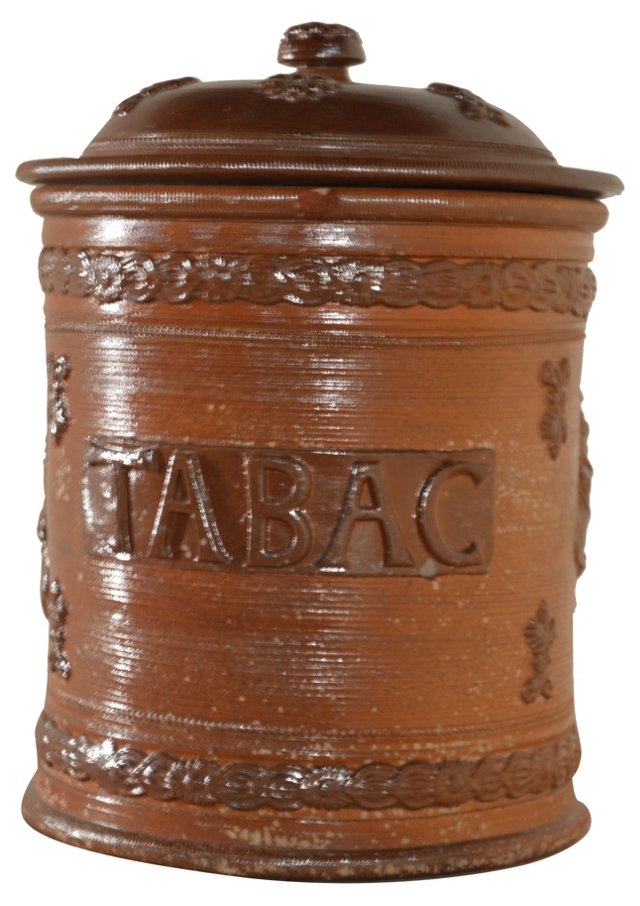 19th-C. Salt-Glazed Tobacco Jar