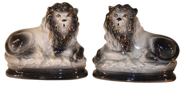 19th-C.  Staffordshire  Lions, Pair