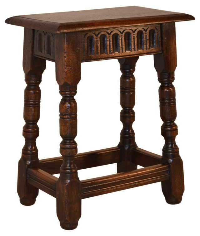 18th-C. English Oak Fluted Joint Stool