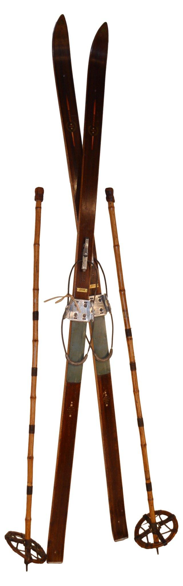 1920s Snow Skis & Poles, 4 Pcs